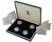 1994-1997 4 x Silver Proof Piedfort One Pounds